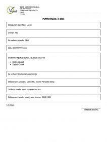 Putni nalog PDF izrađen u aplikaciji Moja Tvrtka