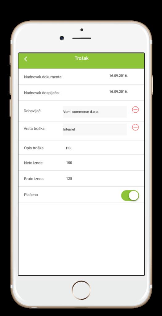 Izračun i unos troškova Moja Tvrtka aplikacija