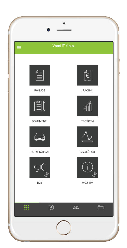 Početni zaslon aplikacije Moja Tvrtka iPhone