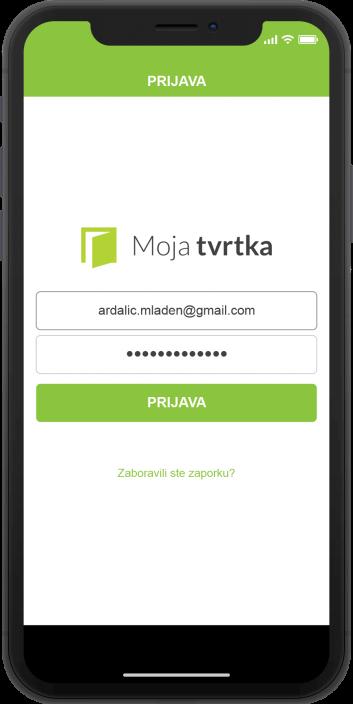 Moja Tvrtka aplikacija - zaslon za ulogiravanje svijetle boje