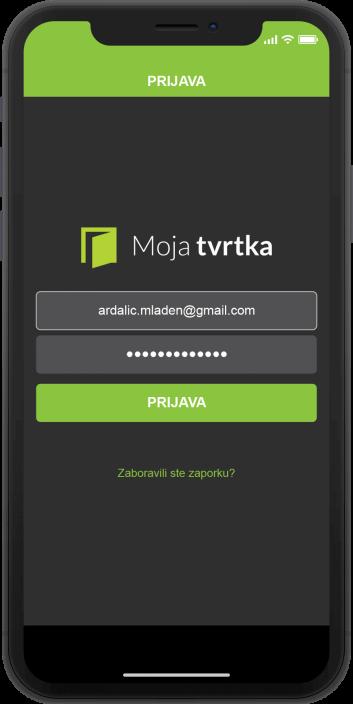 Moja Tvrtka aplikacija - zaslon za ulogiravanje tamne boje