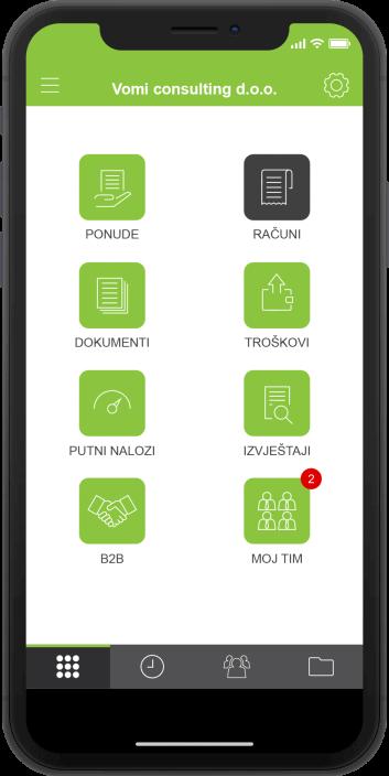 Moja Tvrtka aplikacija - početni zaslon svijetle boje