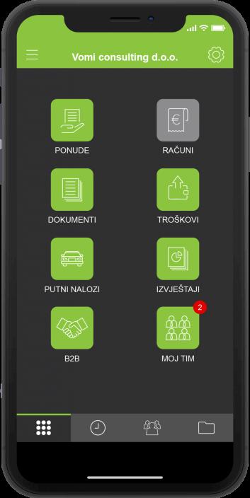 Moja Tvrtka aplikacija - početni zaslon tamne boje
