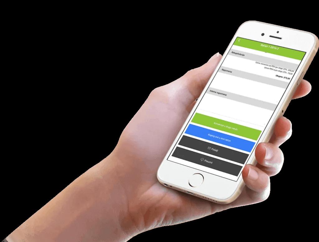 Dijeljenje dokumenata u aplikaciji Moja Tvrtka na zaslonu mobitela u ruci