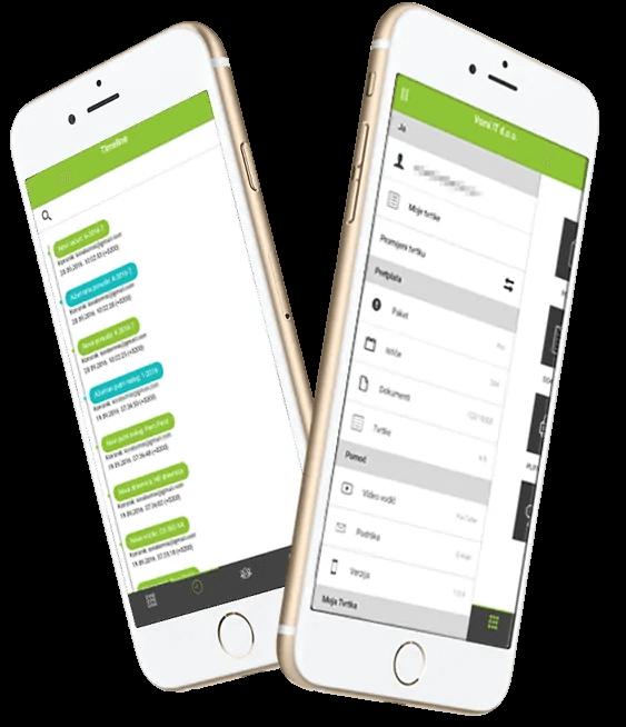 Moduli Timeline i Profili u aplikaciji Moja Tvrtka na 2 mobitela